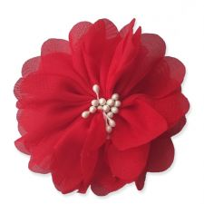 7cm Cherry Blossom in RED Fabric Flower Applique